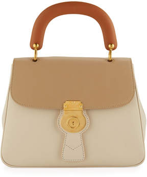 Burberry Trench Large Leather Top-Handle Satchel Bag, Limestone/Honey