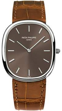 Patek Philippe 18K White Gold / Brown Leather with Brown Dial 31.1mm Mens Watch