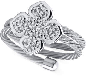 Charriol Le Fleur Sterling Silver Ring with White Topaz and Stainless Steel Cable