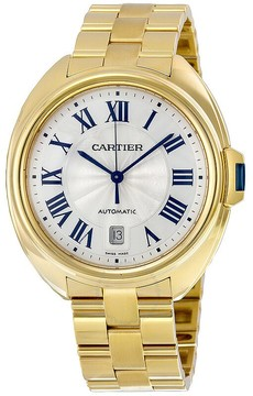 Cartier Cle Silvered Flinque Dial 18kt Yellow Gold Men's Watch