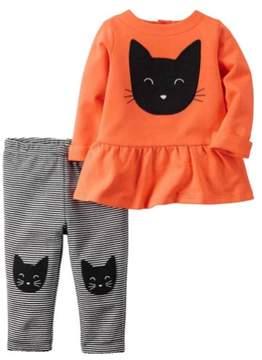 Carter's Infant Girls KItty Halloween Outfit Black Cat Shirt & Pants Set Newborn