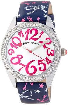 Betsey Johnson Women's Nautical Crystal Leather Watch