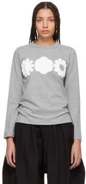 Comme des Garcons Grey Long Sleeve Foam Flower T-Shirt