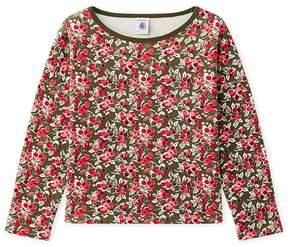 Petit Bateau Girl's flowery fleece sweatshirt