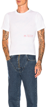 Martine Rose Slim Short Sleeve T-Shirt with Rose Print Detail in White.
