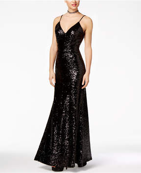B. Darlin Juniors' Open-Back Sequined V-Neck Gown