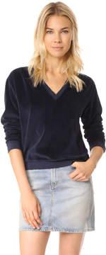 Amo Deep V Velour Sweatshirt