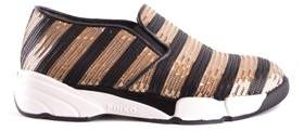 Pinko Women's Black/gold Fabric Slip On Sneakers.