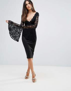 Club L Lace Scallop Detail Midi Dress With Flute Sleeve Detail