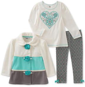 Kids Headquarters 3-Pc. Colorblocked Fleece Jacket, T-Shirt & Leggings Set, Little Girls (4-6X)