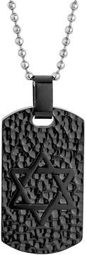 JCPenney FINE JEWELRY Mens Star of David Stainless Steel & Black IP Textured Dog Tag Pendant Necklace