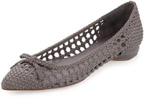 Delman Shana Woven Leather Flat, Fog