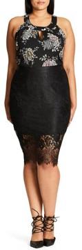 City Chic Plus Size Women's Romantic Lace Pencil Skirt