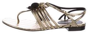 Chanel Metallic Camellia Sandals