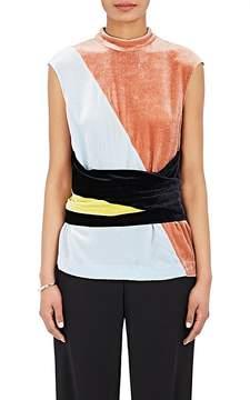 Cédric Charlier Women's Colorblocked Velvet Tie-Front Top