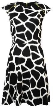 MICHAEL Michael Kors Women's Zip-Trim Giraffe Ponte Dress (0, White)