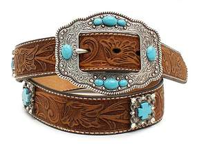 Ariat Teal & Brown Floral Concho Leather Belt