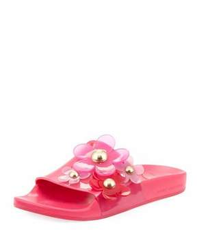 Marc Jacobs Daisy Pave Aqua Pool Slide Sandal
