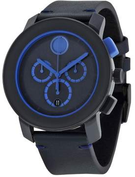 Movado Bold Chronograph Navy Blue Dial Blue Leather Men's Watch 3600349