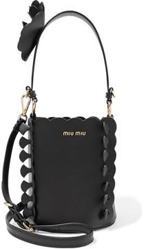 Miu Miu - Appliquéd Leather Bucket Bag - Black