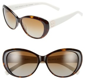 Tory Burch Women's 56Mm Polarized Cat Eye Sunglasses - Dark Tortoise/ Polar