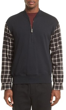 3.1 Phillip Lim Men's Pullover Bomber With Flannel Sleeves