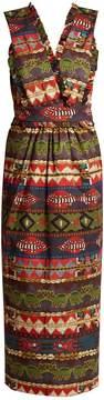 Stella Jean Multi-print V-neck apron dress