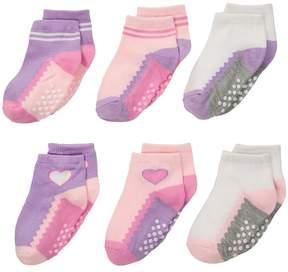 Jefferies Socks Non-Skid Ankle Quarter 6-Pack Girls Shoes