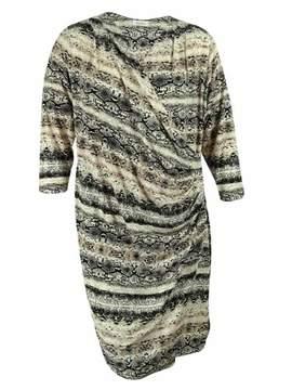 Calvin Klein Women's Animal Print Faux Wrap Dress (3X, Multi)