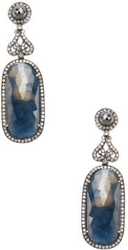 Artisan Women's Silver, 18K Yellow Gold, Sapphire & 2.50 Total Ct. Diamond Drop Earrings