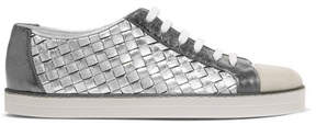 Bottega Veneta Suede-trimmed Metallic Textured And Intrecciato Leather Sneakers - Silver