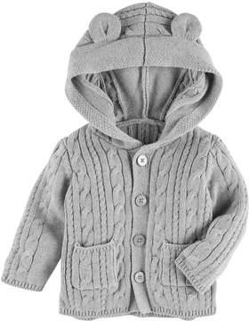 Osh Kosh Oshkosh Bgosh Baby Girl Cable-Knit Hooded Cardigan