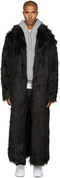 Pyer Moss SSENSE Exclusive Black Long Faux-Fur Coat