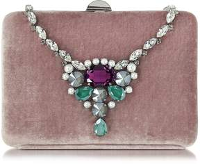 Rodo Antique Pink Velvet Collier Clutch w/Crystals