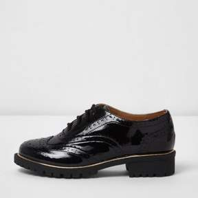 River Island Girls black patent brogues