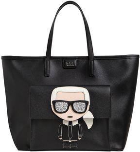 K/Ikonik Karl Face Faux Leather Tote Bag