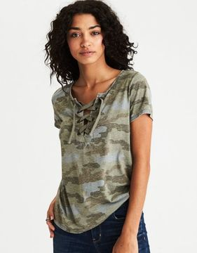 American Eagle Outfitters AE Lace-Up Burnout T-Shirt