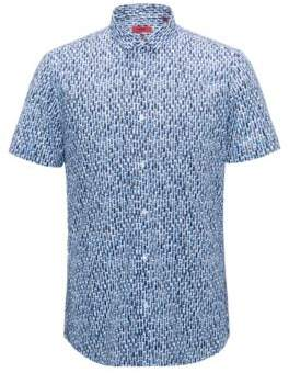 HUGO Boss Patterned Sport Shirt, Extra Slim Fit Empson XXL Open Blue