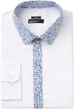 Bar III Men's Slim-Fit Stretch and Easy Care White with Floral Contrast Dress Shirt, Created for Macy's