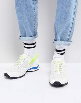 Asos Sneakers In White And Neon With Chunky Sole