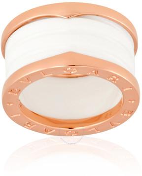 Bvlgari B.Zero1 18K Pink Gold And White Ceramic 4-Band Ring Size