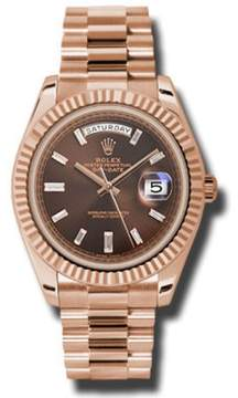 Rolex Day-Date II President Rose Gold Chocolate Diagonal Dial 40mm Watch