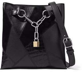 Alexander Wang Paneled Chain-Embellished Suede Croc-Effect And Textured-Leather Tote