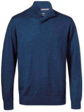 Charles Tyrwhitt Mid Blue Merino Wool Button Neck Sweater Size Large