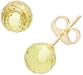 Ball 14k Gold Lemon Quartz Stud Earrings