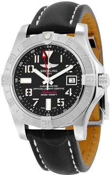 Breitling Avenger II GMT Automatic Volcano Black Dial Black Leather Men's Watch A3239011-BC34BKLD