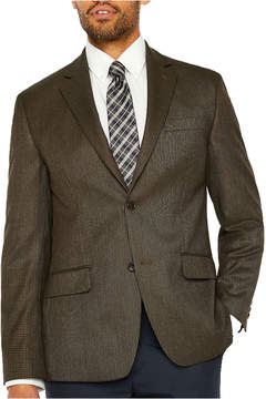 Izod Brown Houndstooth Classic Fit Woven Sport Coat