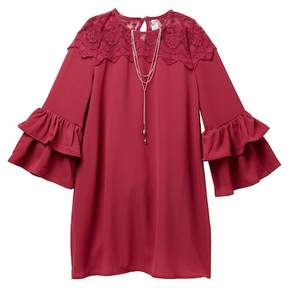 Beautees Lace Yoke Ruffle Sleeve Dress & Necklace Set (Big Girls)