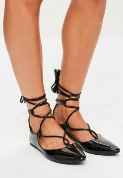 Missguided Black Wrap Ankle Tie Pointed Flats