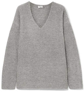 Frame Oversized Ribbed-knit Sweater - Gray